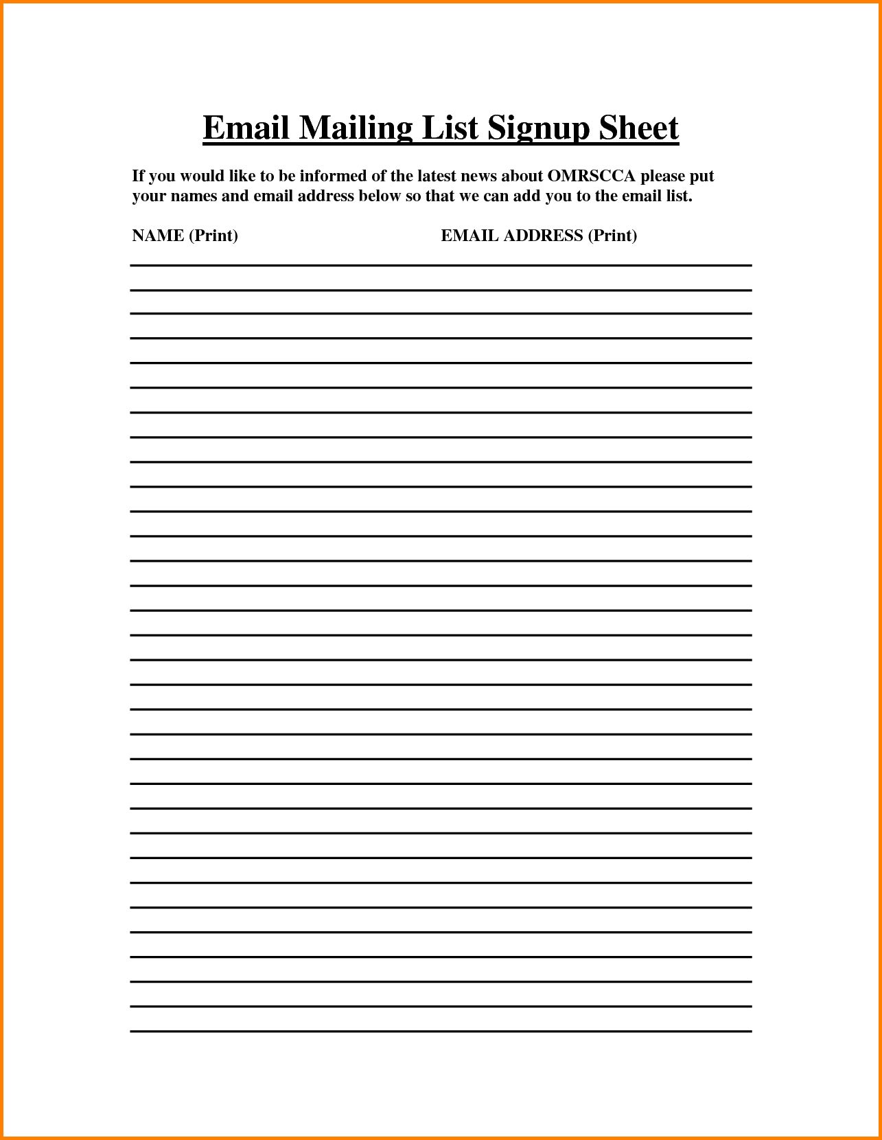 Email Spreadsheet Template With Email Sign Up Sheet  Charlotte Clergy Coalition