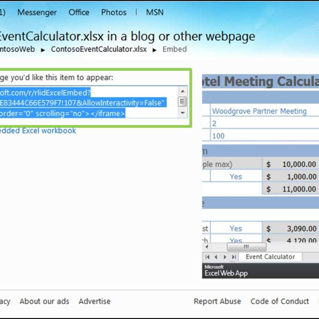 Embed An Excel Spreadsheet On A Web Page In Embed Interactive Excel Spreadsheet In Web Page Archives