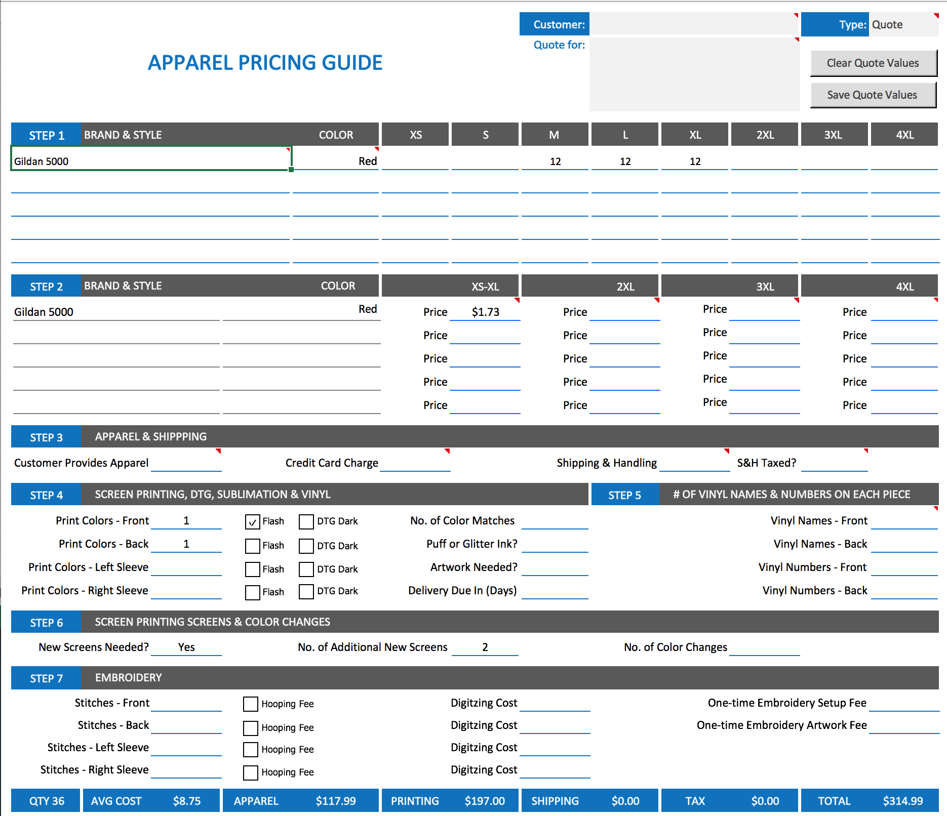Embroidery Pricing Spreadsheet for Shirt Business Toolkit  Screen Printing Price Calculator And T