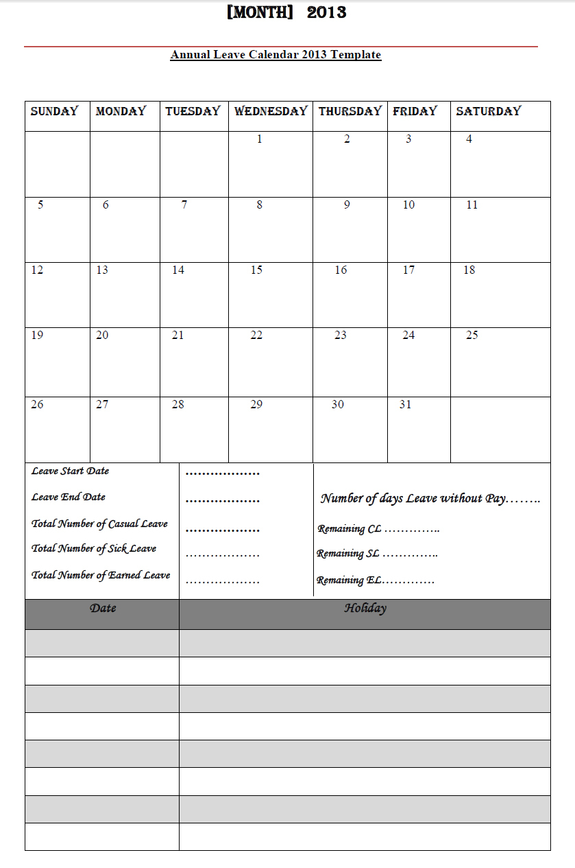 Employee Annual Leave Record Spreadsheet Inside Annual Leave Calendar 2013, Annual Leave Calendar 2013 Template