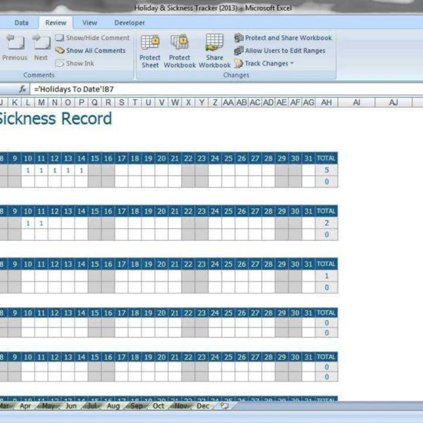 Employee Annual Leave Record Spreadsheet With Employee Annual Leave  Sickness Tracker  Youtube With Regard To