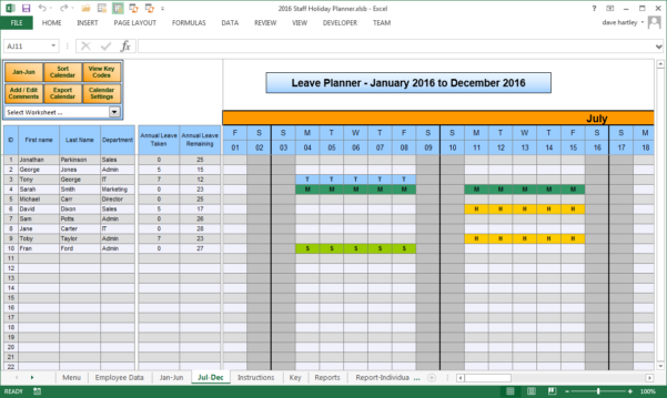 Employee Annual Leave Record Spreadsheet Within Anual Leave Planner Template: Manage Staff Leave With This Excel