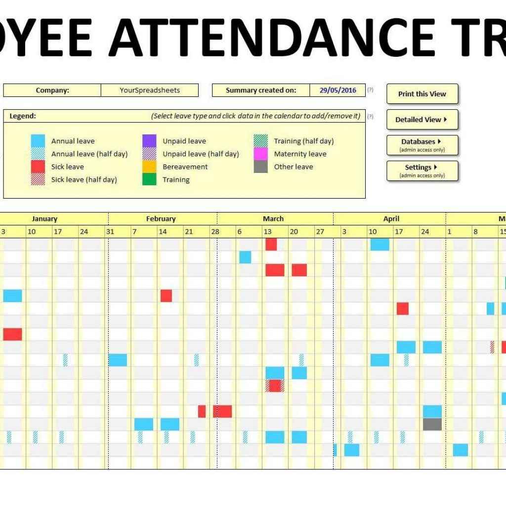 Employee Attendance Spreadsheet In Employee Attendance Tracking Spreadsheet Free Tracker Template Excel