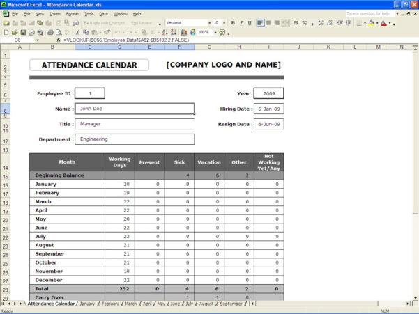 Employee Attendance Spreadsheet Inside Attendance Calendar  Excel Templates