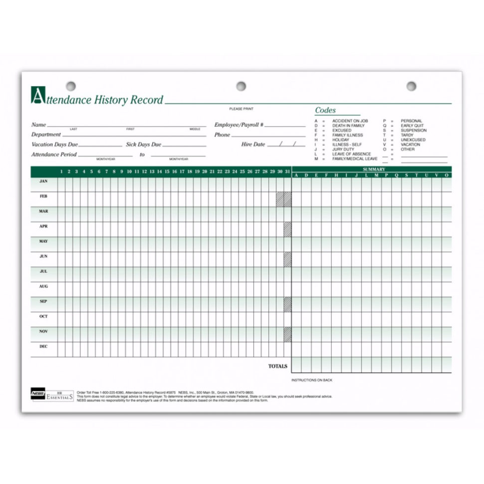 Employee Attendance Spreadsheet Intended For Employee Attendance Sheets 5875 At Print Ez.