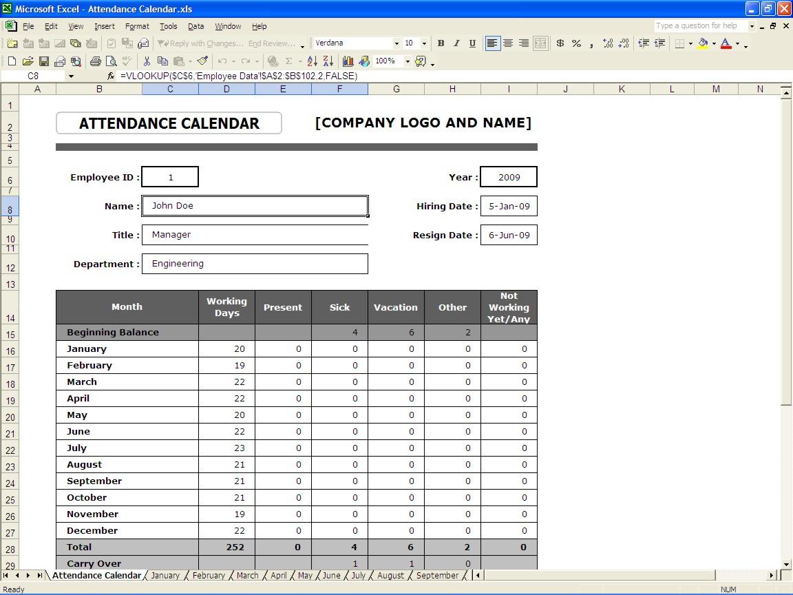Employee Attendance Spreadsheet Template Within Attendance Calendar  Excel Templates