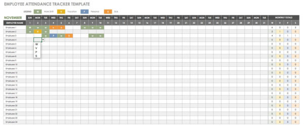 Employee Attendance Spreadsheet Within Free Human Resources Templates In Excel