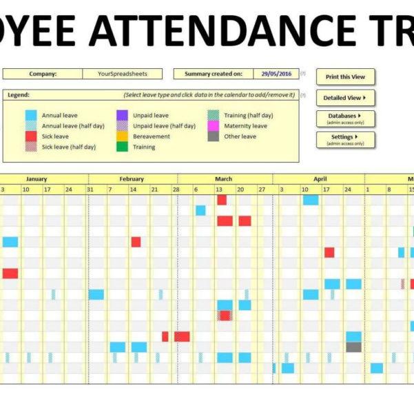 Employee Attendance Tracker Spreadsheet In Employee Attendance Tracking Spreadsheet Free Tracker Template Excel