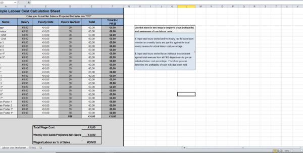 Employee Labor Cost Spreadsheet Inside Labour Cost Calculation Excel Template  Eloquens