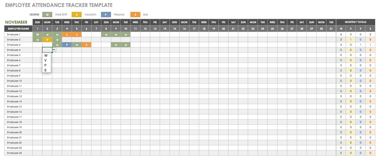 Employee Pto Tracking Spreadsheet Inside Free Human Resources Templates In Excel