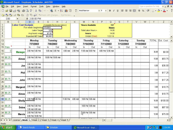 Employee Schedule Spreadsheet Template Throughout Employee Schedule Spreadsheet Template On How To Make An Excel For