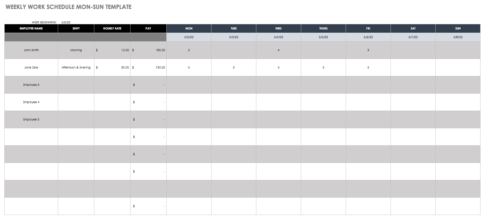 Employee Scheduling Spreadsheet In Free Work Schedule Templates For Word And Excel