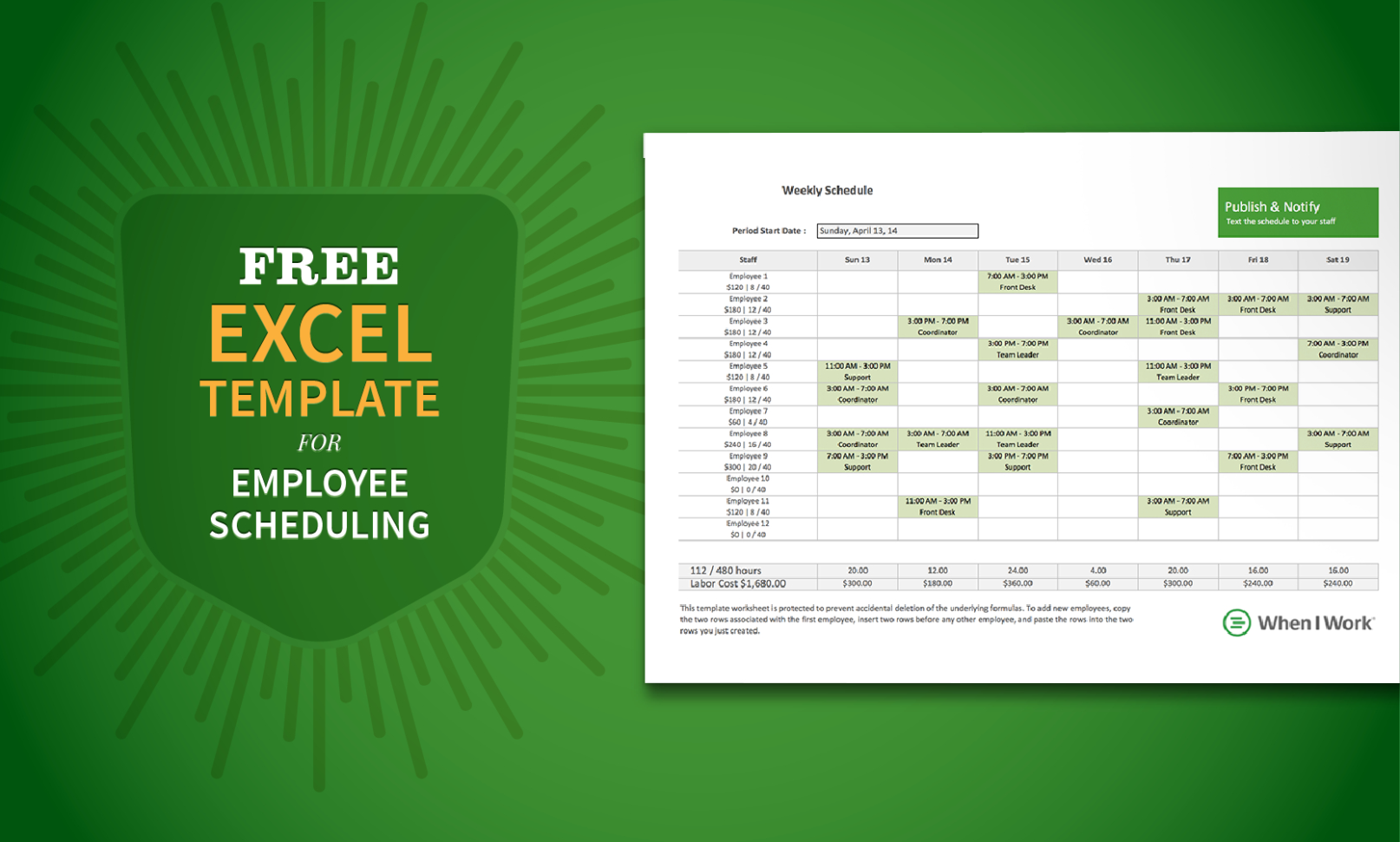 Employee Scheduling Spreadsheet Regarding Free Excel Template For Employee Scheduling  When I Work