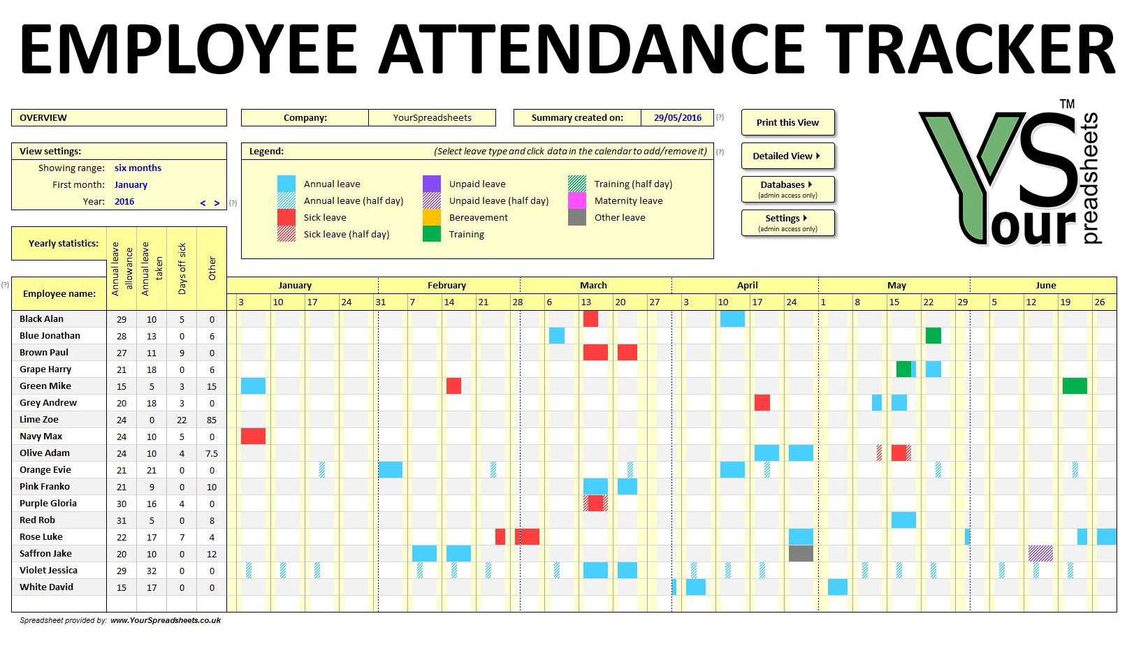 Employee Time Off Tracking Spreadsheet For Time Off Tracking Spreadsheet Sample Worksheets Employee Paid Free