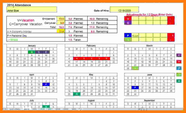 Employee Time Off Tracking Spreadsheet Pertaining To Time Off Tracking Spreadsheet Sample Worksheets Employee Paid Free