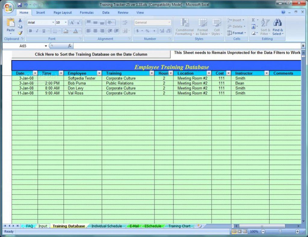Employee Training Tracker Excel Spreadsheet In Free Employee Training Tracker Excel Spreadsheet Tutorials For
