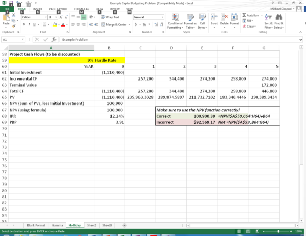 End Of Period Spreadsheet Template In Solved: Capital Budgeting Spreadsheet Project Introduction