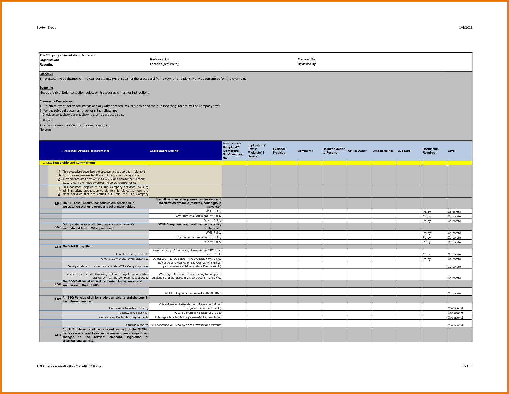 Energy Audit Excel Spreadsheet Within Energy Audit Report Template And 37 Brilliant Audit Report Format