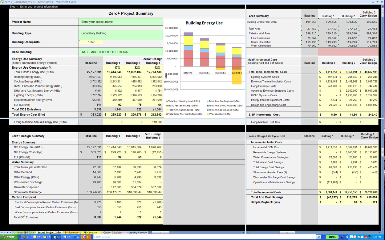 Energy Savings Calculator Spreadsheet Intended For Salovich Zero Plus Campus Design Project  College Of Design