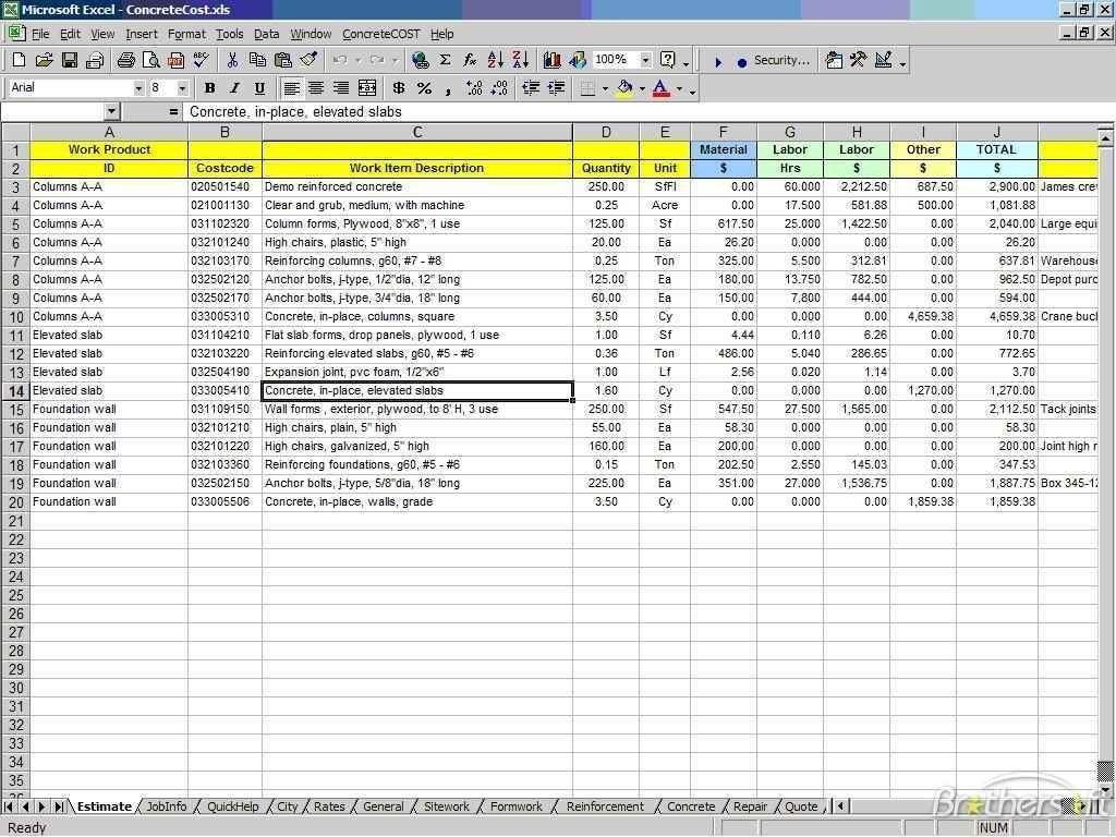 Equipment Cost Calculator Spreadsheet Pertaining To Construction Cost Estimate Spreadsheet Equipment Calculator Template