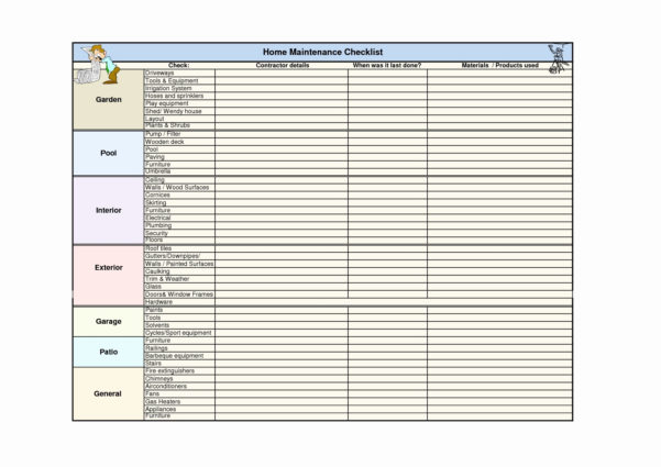 Equipment Maintenance Schedule Spreadsheet For Home Maintenance Schedule Spreadsheet Coles Thecolossus Co Examples