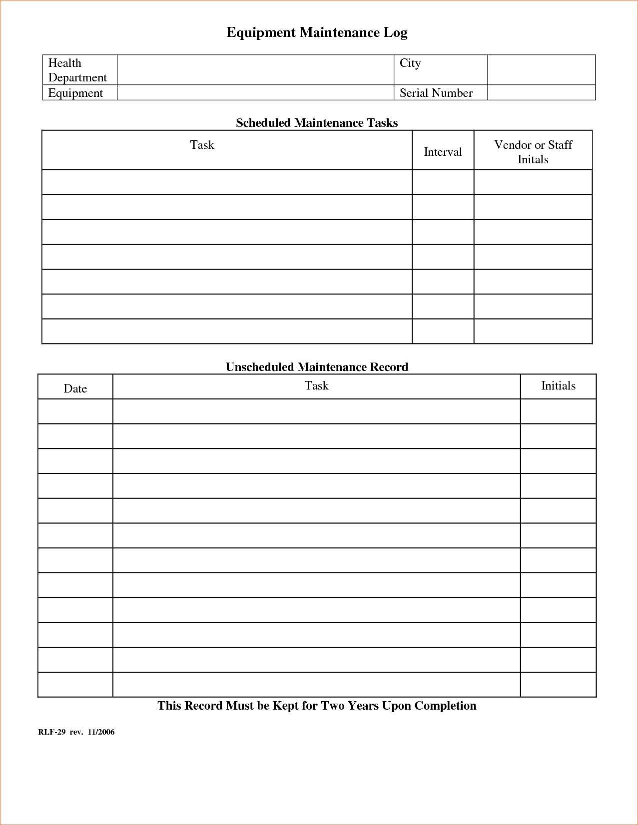 Equipment Maintenance Schedule Spreadsheet Regarding Equipment Maintenance Log Template  Charlotte Clergy Coalition