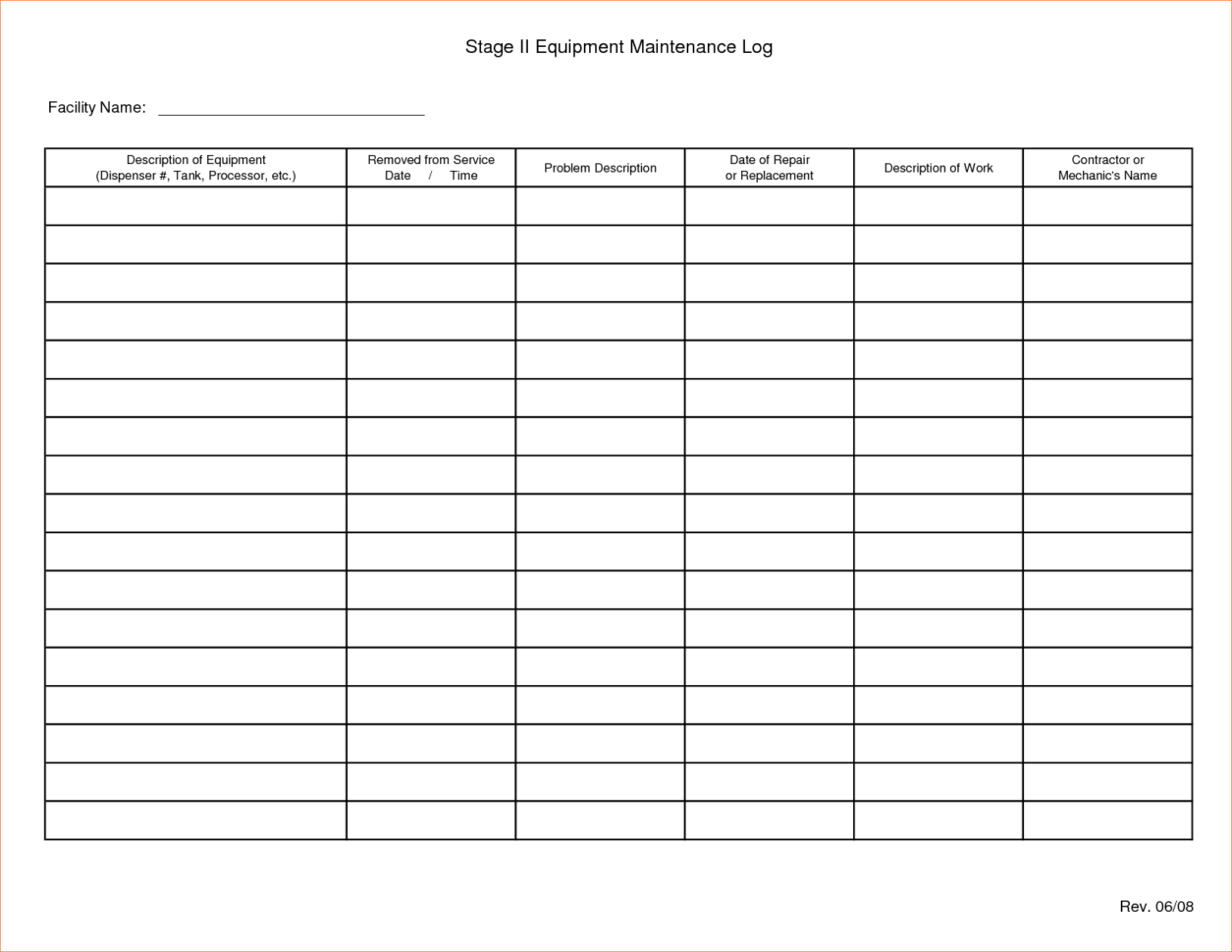 Equipment Maintenance Tracking Spreadsheet In Preventive Maintenance Spreadsheet Schedule Template Excel Free