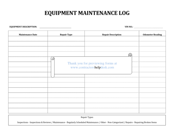 Equipment Maintenance Tracking Spreadsheet Intended For Example Of Maintenance Tracking Spreadsheet Equipment Log Preview