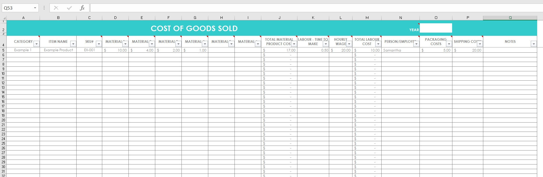 Essential Oil Inventory Spreadsheet Intended For Cost Of Goods Sold Inventory Spreadsheet Etsy Seller Tool Shop  Etsy