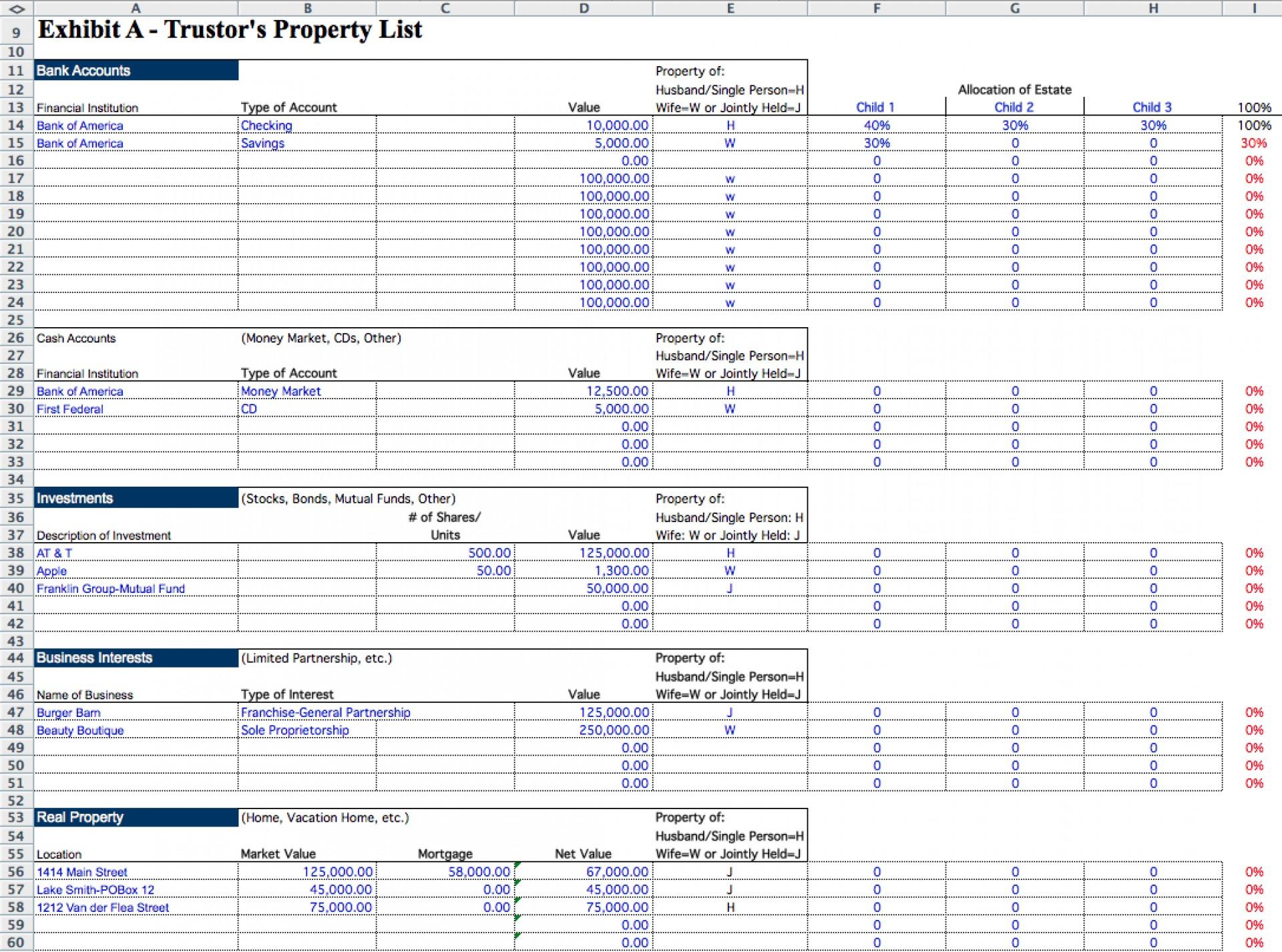 Estate Executor Spreadsheet Within 001 Probate Accounting Template Excel Ideas Estate Executor