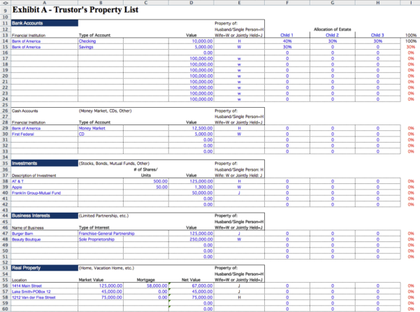 Estate Spreadsheet Throughout Estate Planning Spreadsheet Template Inventory Real Business