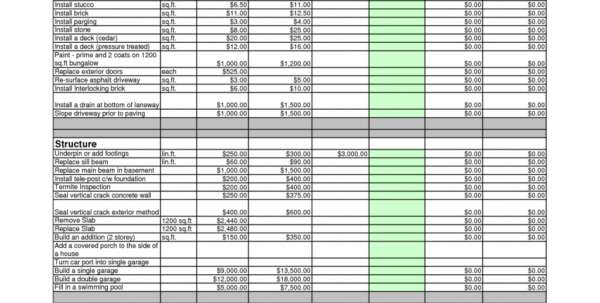 Estimating Spreadsheets Free Download For Construction Estimating Spreadsheet Free Download Residential