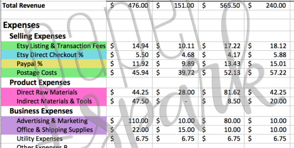 Etsy Inventory Spreadsheet With Regard To Handmade Biz Financial Spreadsheet Discounted Bundle  Paper   Spark Etsy Inventory Spreadsheet Google Spreadsheet