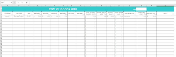 Etsy Pricing Spreadsheet Throughout Cost Of Goods Sold Inventory Spreadsheet Etsy Seller Tool Shop  Etsy