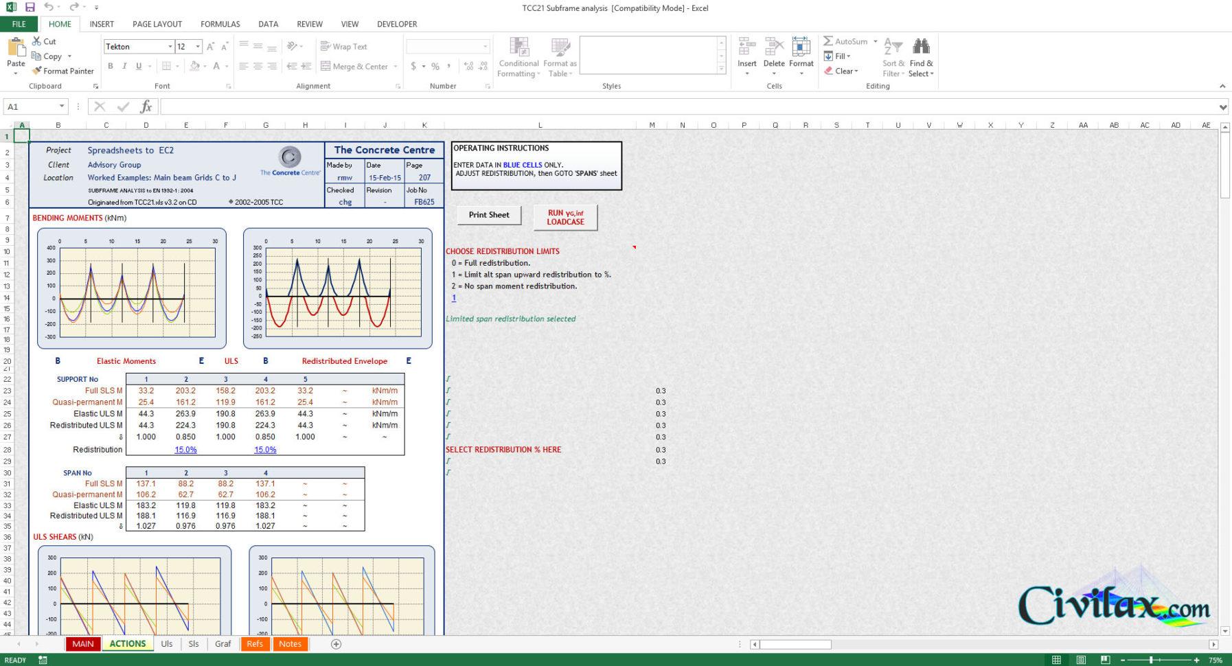 Eurocode Spreadsheets Throughout Sub Frame Analysis Spreadsheets To Eurocode 2 En 19921: 2004