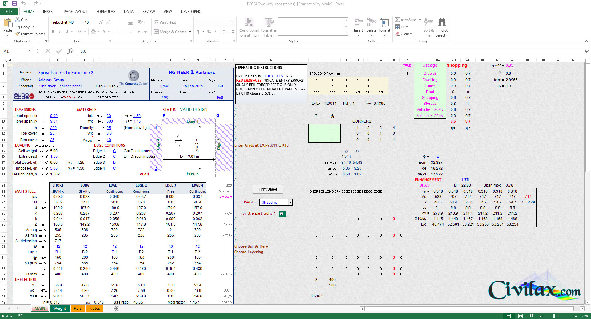 Eurocode Spreadsheets With Regard To Two Way Slab Design Spreadsheets To Eurocode 2 En 19921: 2004