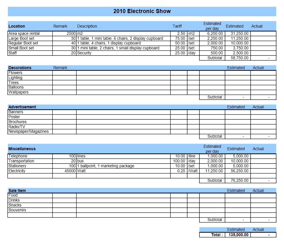 Event Budget Spreadsheet With Event Budget  Excel Templates