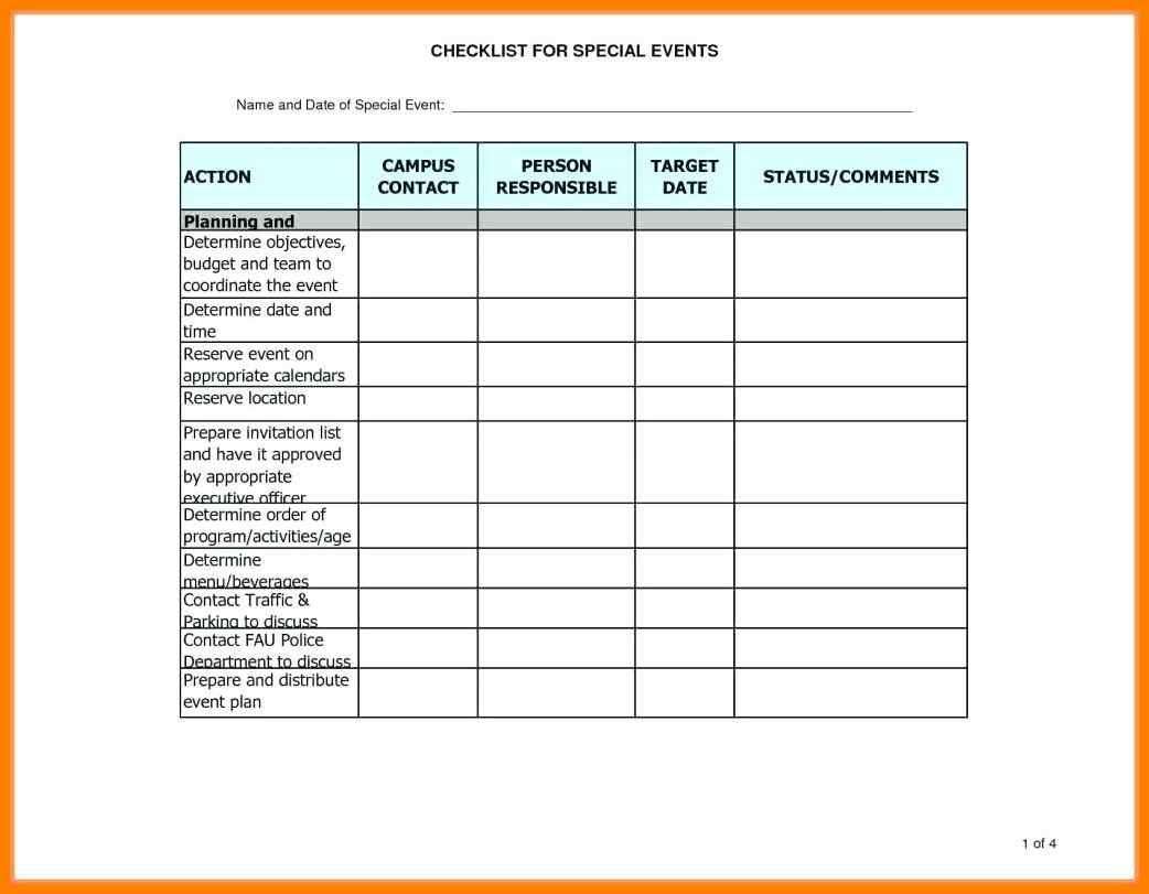 Event Management Spreadsheet Inside 8  Event Checklist Excel Template  Business Opportunity Program