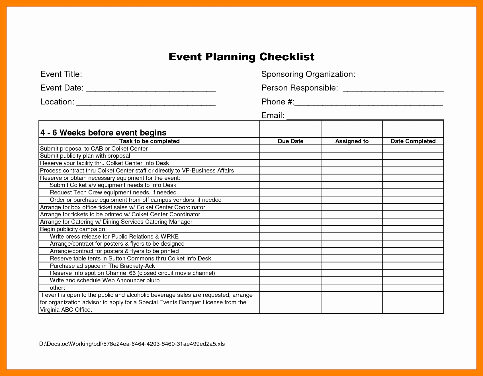 Event Management Spreadsheet With 8  Event Planning Checklist Spreadsheet  Business Opportunity Program
