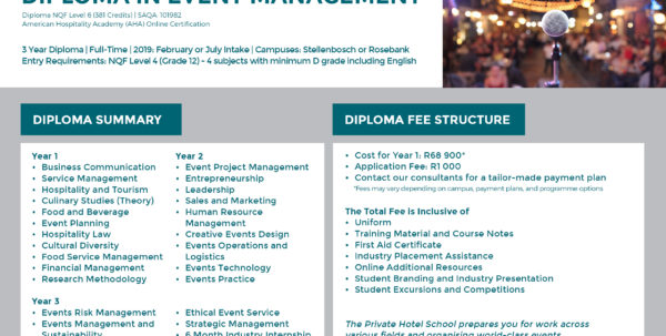 Event Management Spreadsheet With Diploma In Event Management  The Private Hotel School