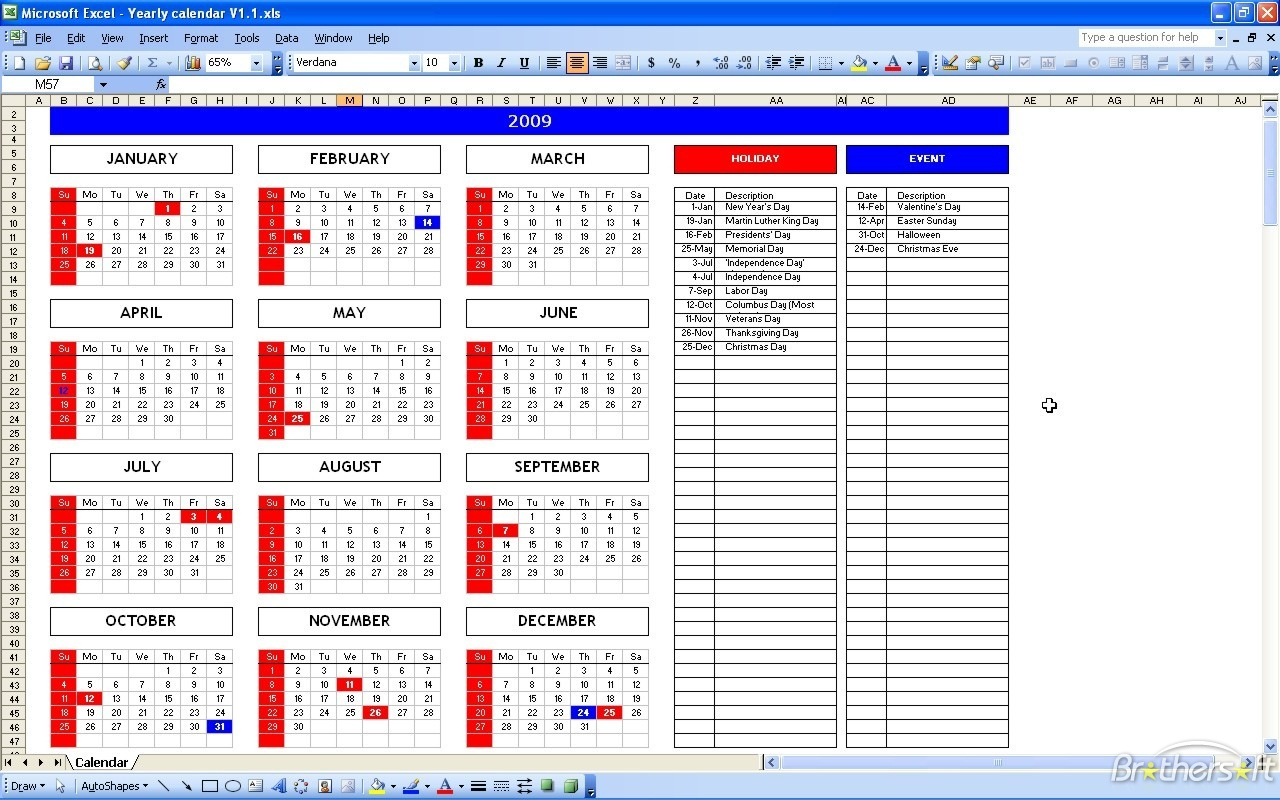 Event Registration Spreadsheet Template With Regard To Download Free Excel Calendar Template, Excel Calendar Template 1.1