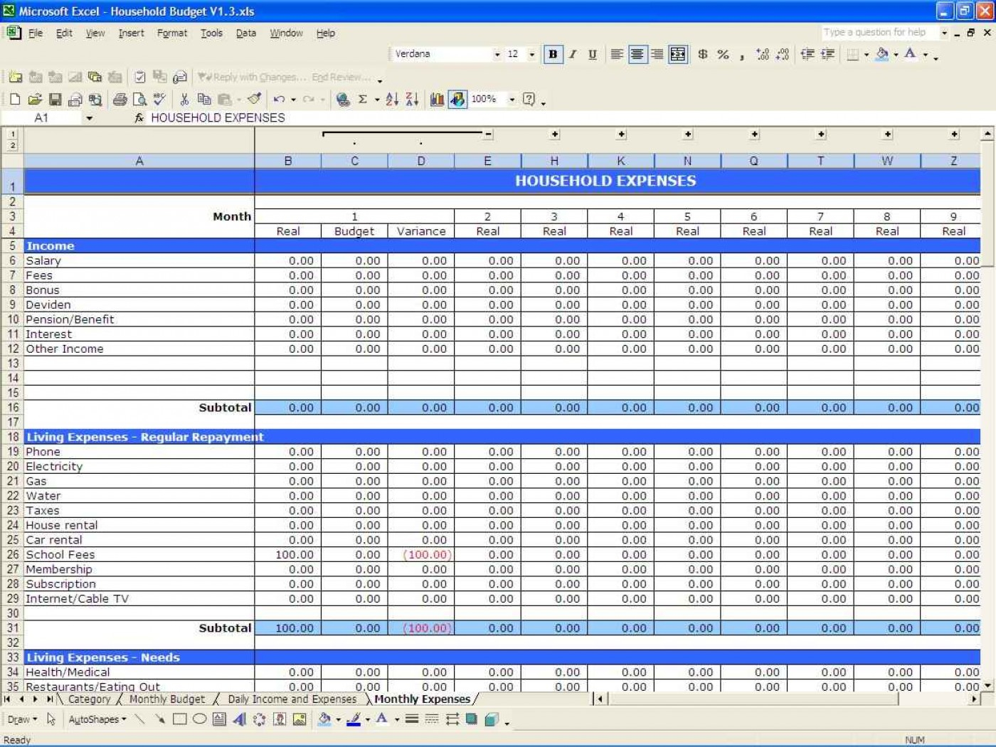 Example Of A Household Budget Spreadsheet In 011 Free Household Budget Templates Template Ideas Home Spreadsheet