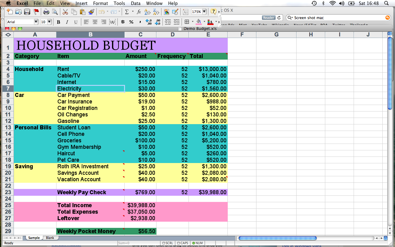 Example Of A Household Budget Spreadsheet | db-excel.com