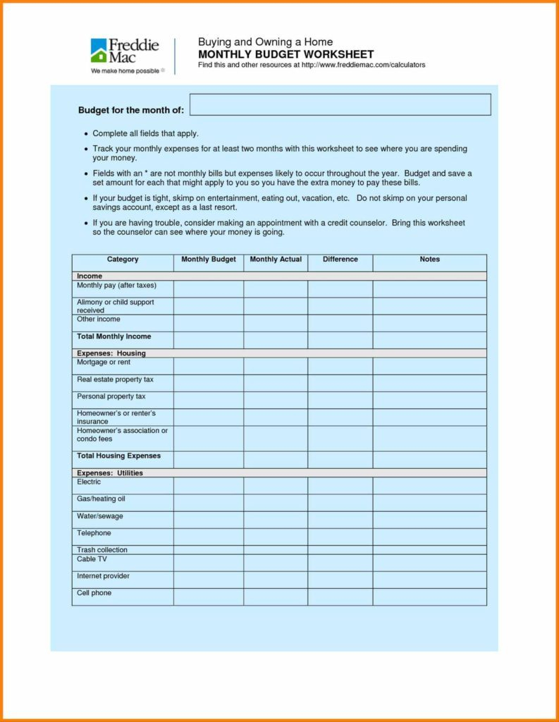Example Of A Household Budget Spreadsheet Inside Sample Household Budget Worksheet Or Simple Monthly Printable With