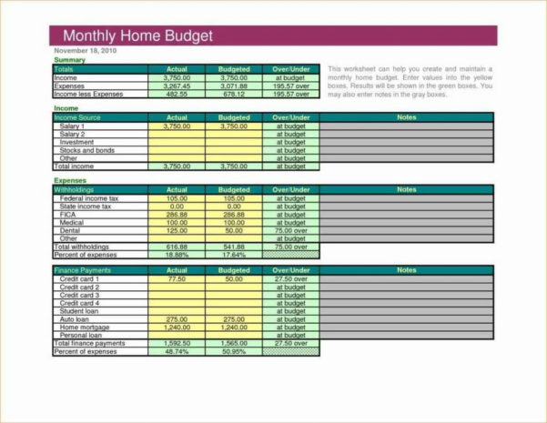 Example Of A Household Budget Spreadsheet With Regard To Example Of Spreadsheet For Household Budget Blankthly Worksheet