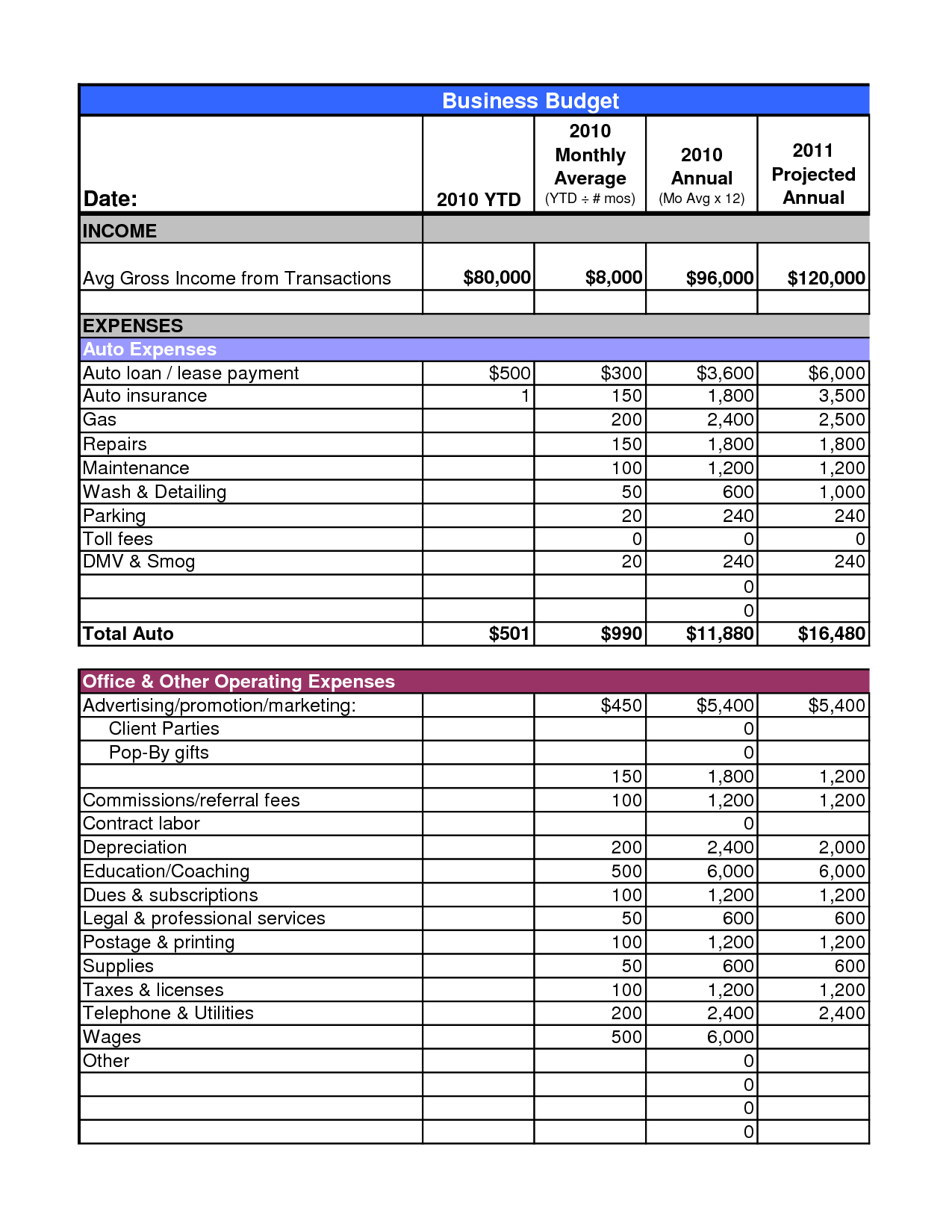 Example Of Business Budget Spreadsheet Intended For Doc Sample Small Business Budget Business Business Budget Worksheet
