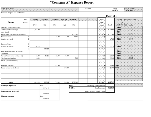 Example Of Business Budget Spreadsheet With Expense Report Sample Example Of Company Budget Spreadsheet