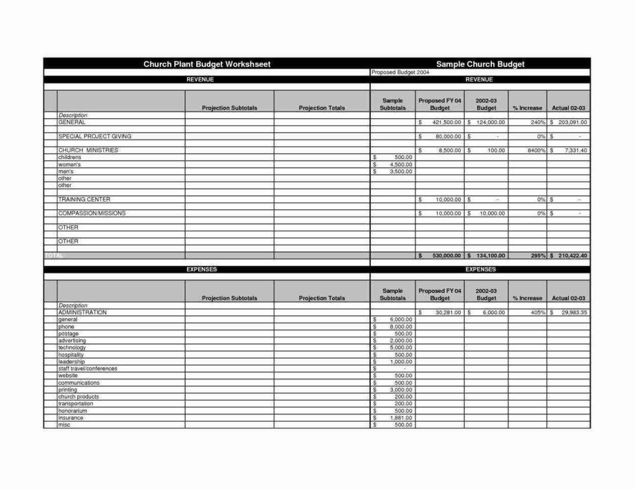 Example Of Church Budget Spreadsheet Regarding Church Budget Spreadsheet Template  Haersheet