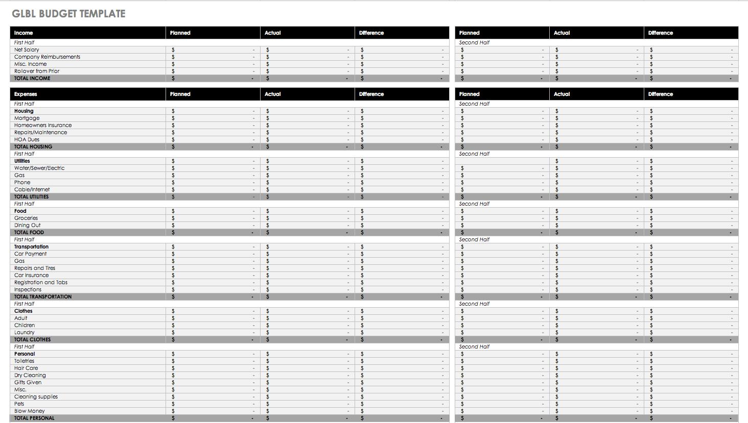 Example Of Monthly Budget Excel Spreadsheet Regarding Free Monthly Budget Templates  Smartsheet