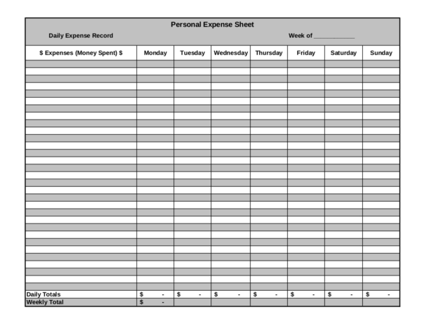 Example Of Spreadsheet For Expenses Intended For 9  Expense Sheet Examples  Pdf